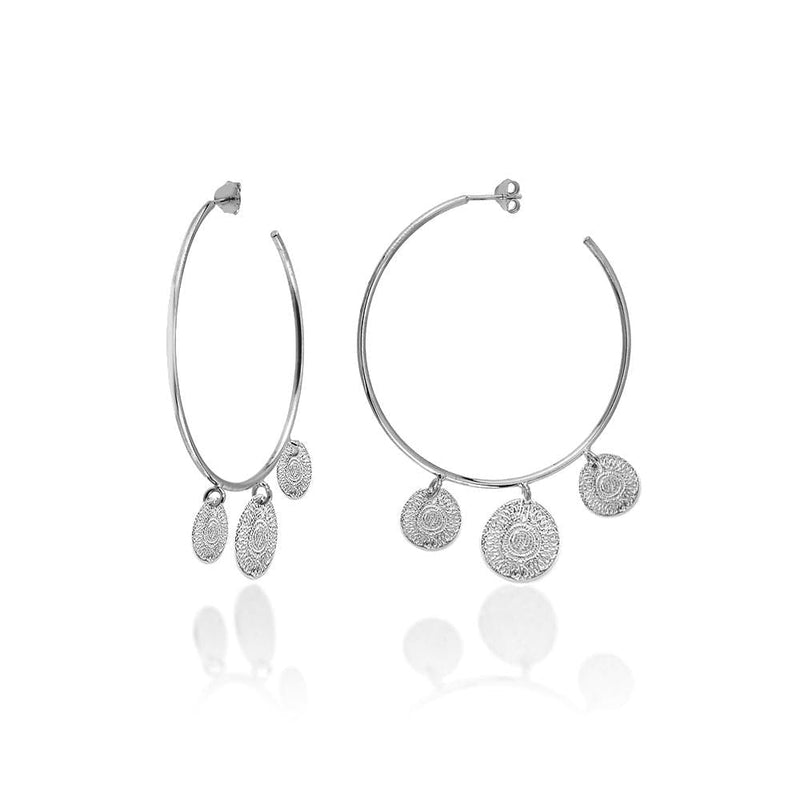 Hoops with Ancient Sun Coins - Silver - Golden Tangerine