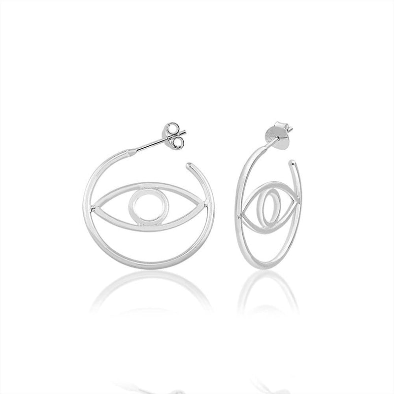 Small Hoops with Evil Eye - Silver - Golden Tangerine