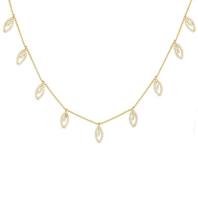 Tangerine Leaves Pave Choker - Yellow Gold