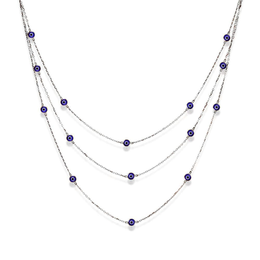 Triple Strand Necklace with Evil Eyes - Silver and Navy