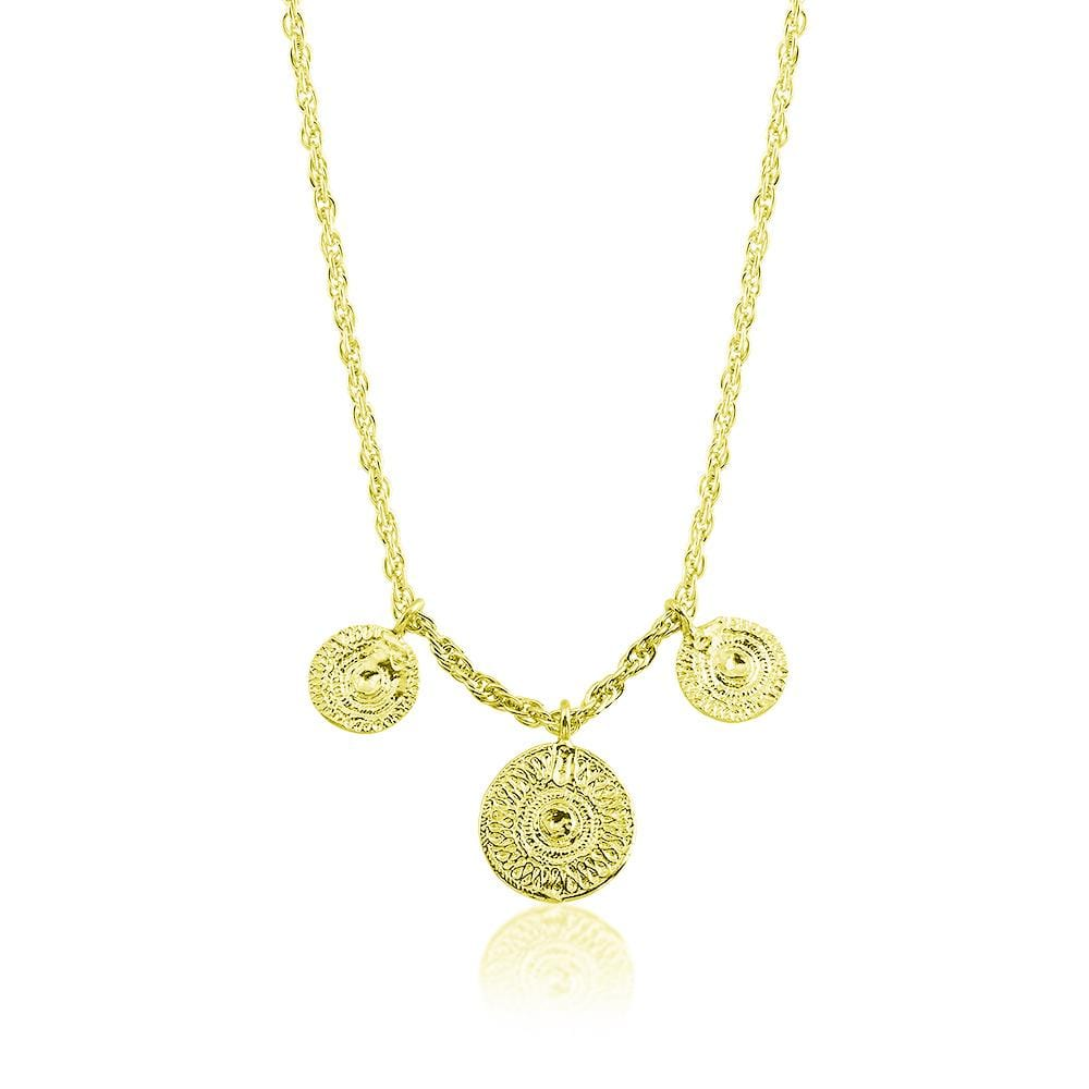 Necklace with 3 Ancient Sun Coins - Yellow Gold - Golden Tangerine