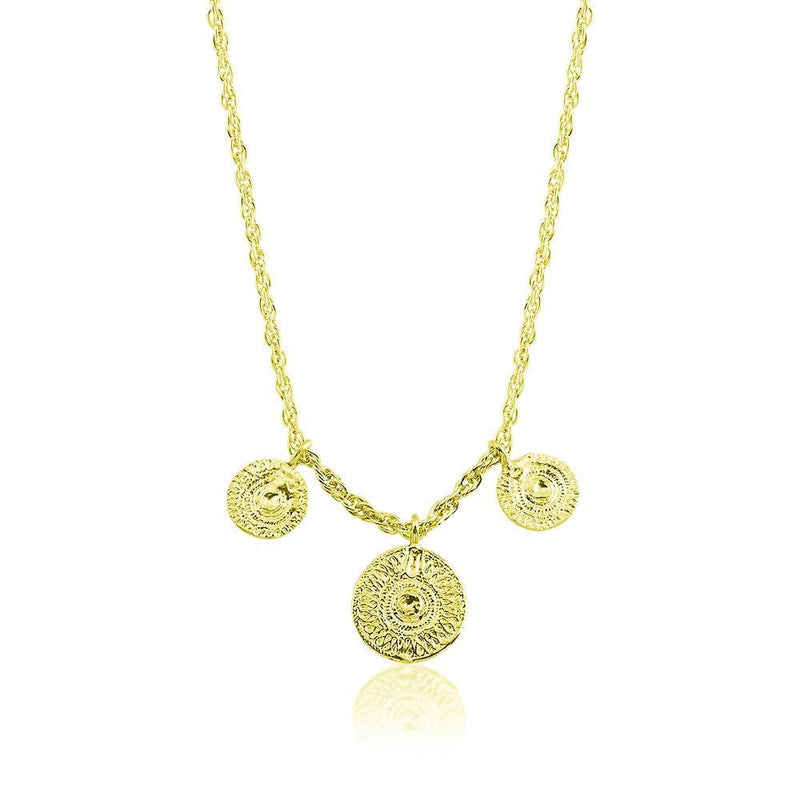 Necklace with 3 Ancient Sun Coins - Yellow Gold