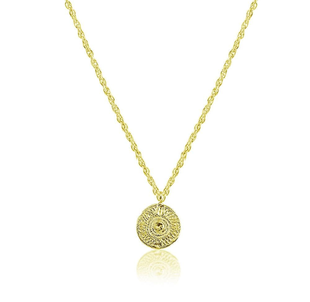 Necklace with Ancient Sun Coin - Yellow Gold