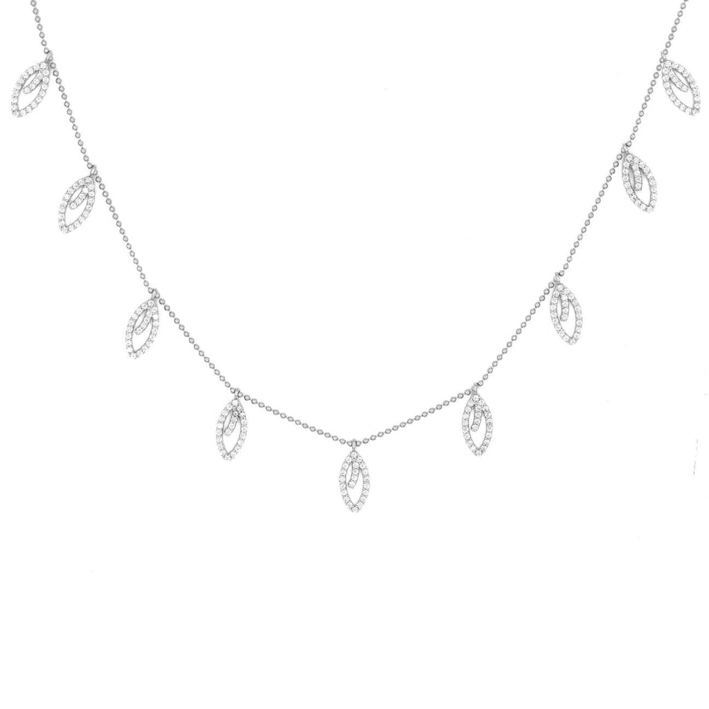 Tangerine Leaves Pave Choker - Silver