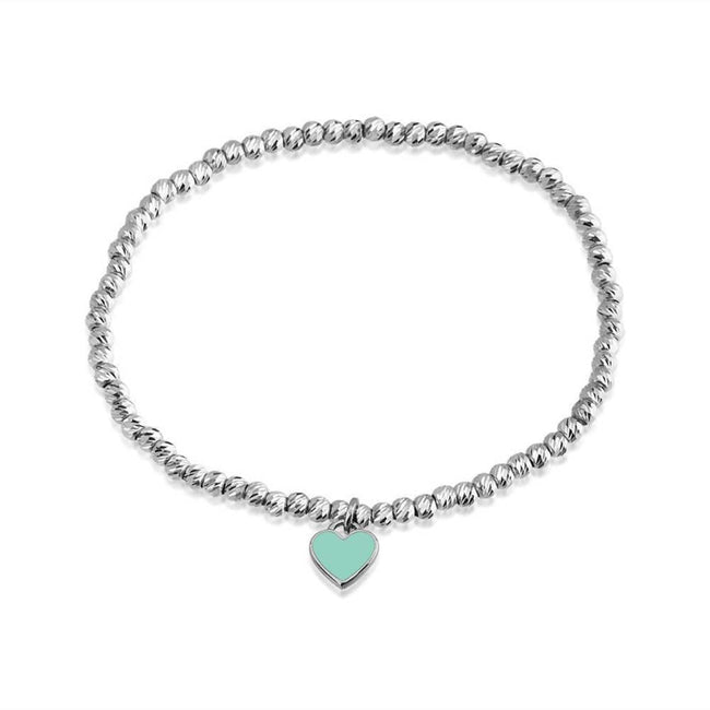Bead Bracelet with Heart Charm