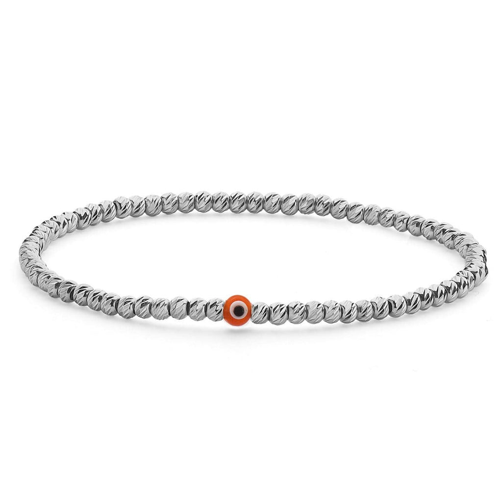 Bead Bracelet with Evil Eye - Silver and Red