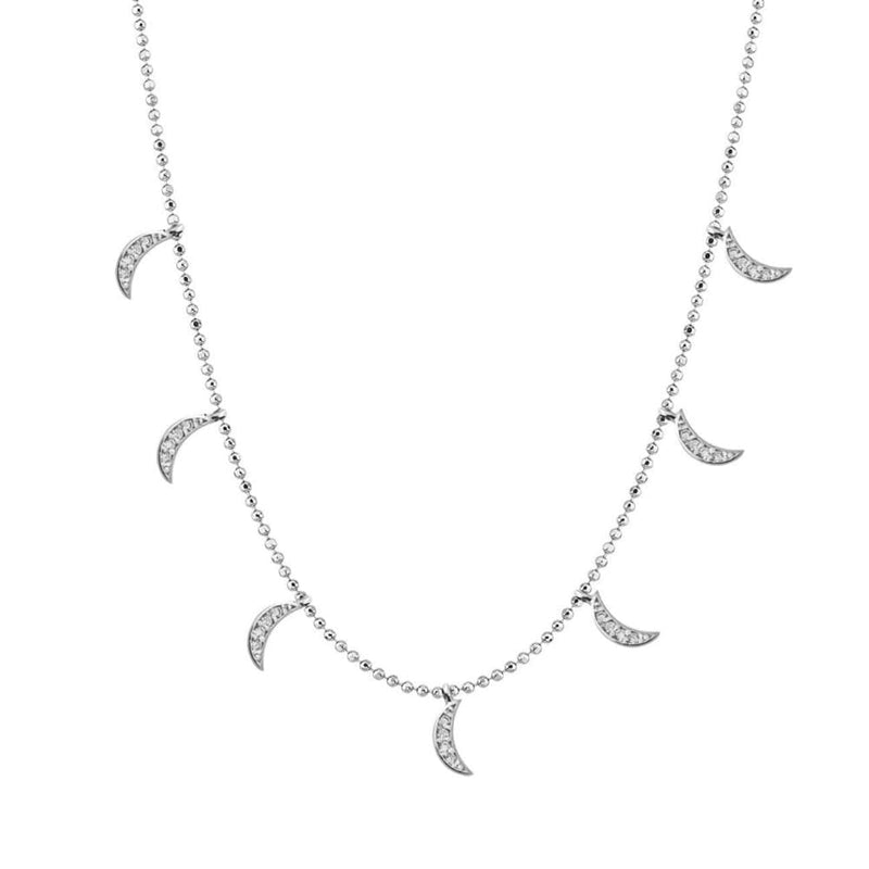 Choker with Moon Charms in Zirconia Pave - Silver