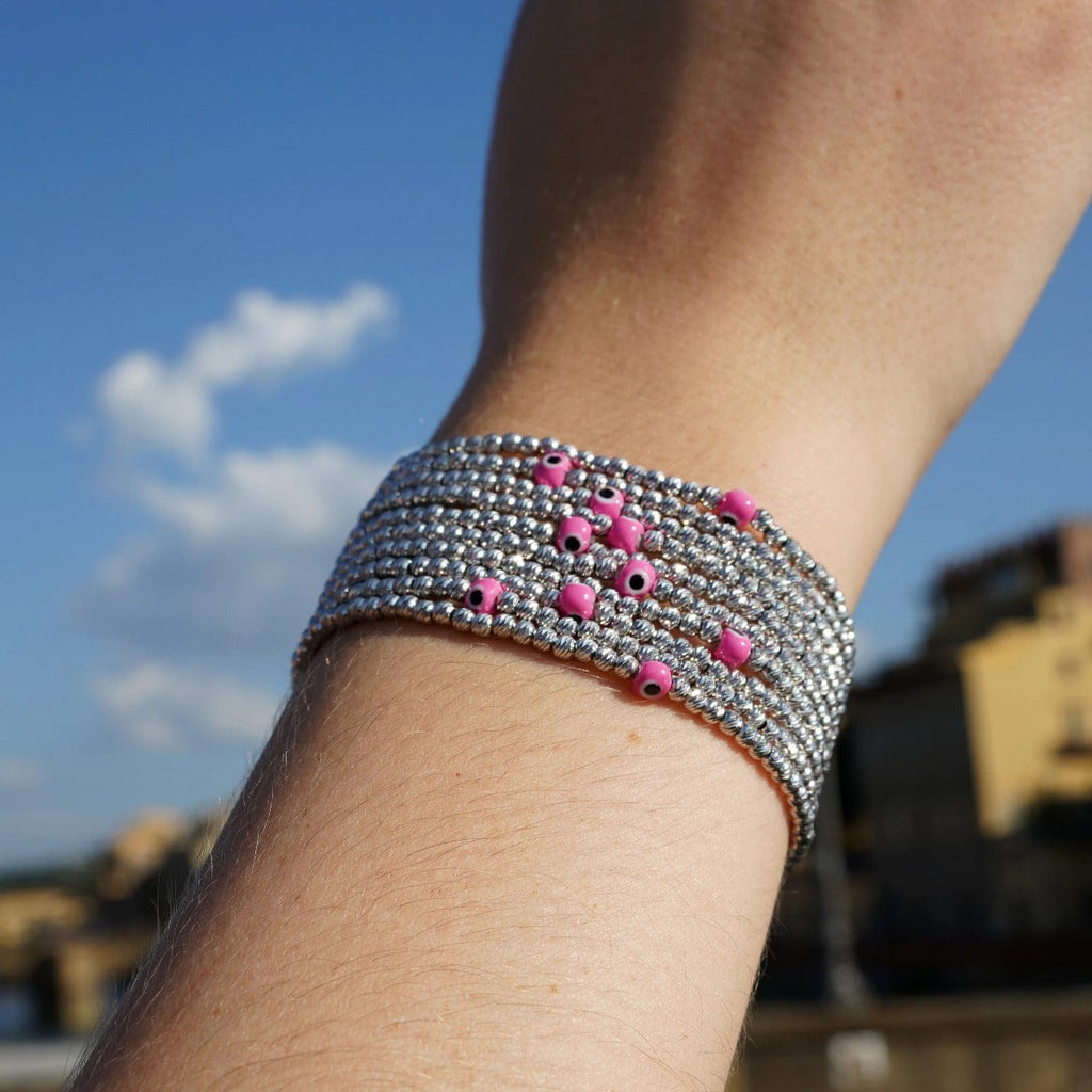 Bead Bracelet with Evil Eye - Silver and Pink - Golden Tangerine