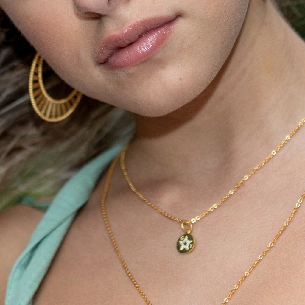Necklace with GT Medallion - Yellow Gold - Golden Tangerine