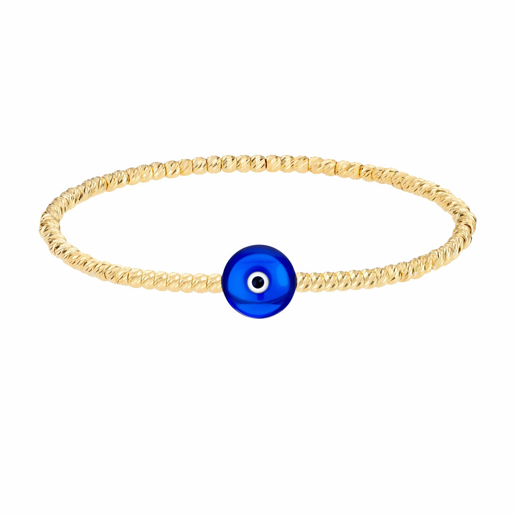 Bead Bracelet with Majestic Evil Eye - Yellow Gold and Navy - Golden Tangerine
