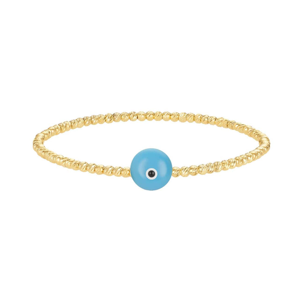 Bead Bracelet with Majestic Evil Eye - Yellow Gold and Turquoise - Golden Tangerine