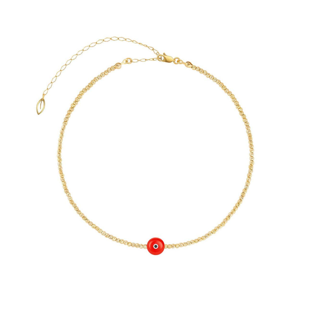 Majestic Evil Eye Bead Choker - Yellow Gold and Coral - Golden Tangerine