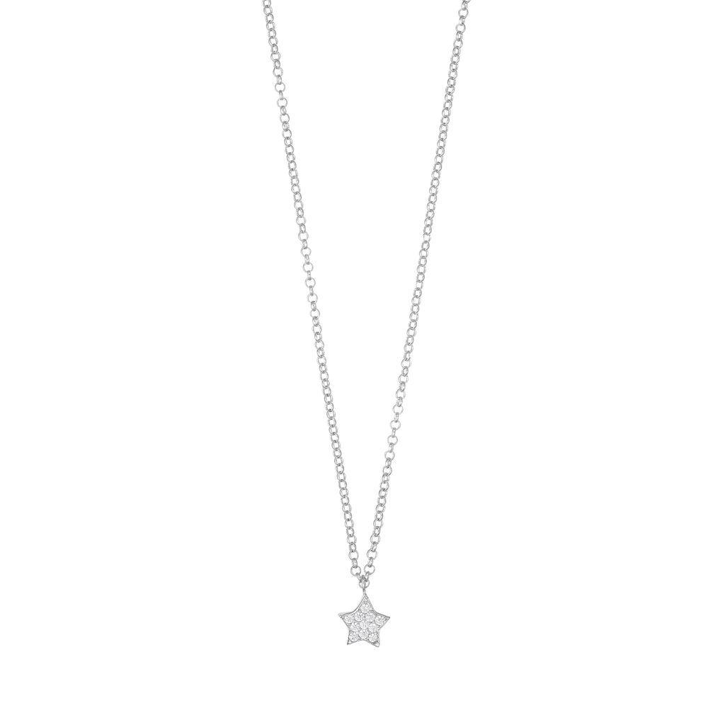 Necklace with Mini Star Pave - Silver
