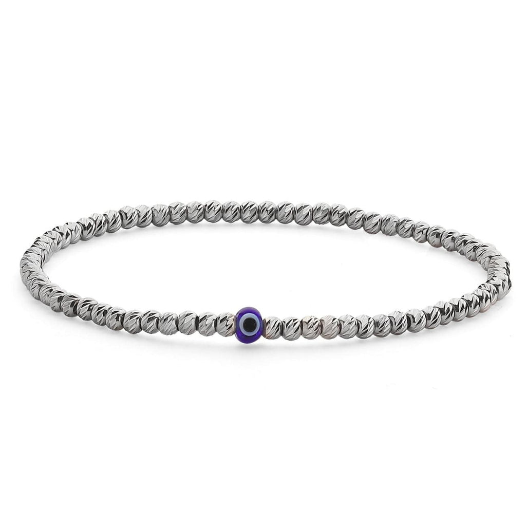 Bead Bracelet with Evil Eye - Silver and Navy