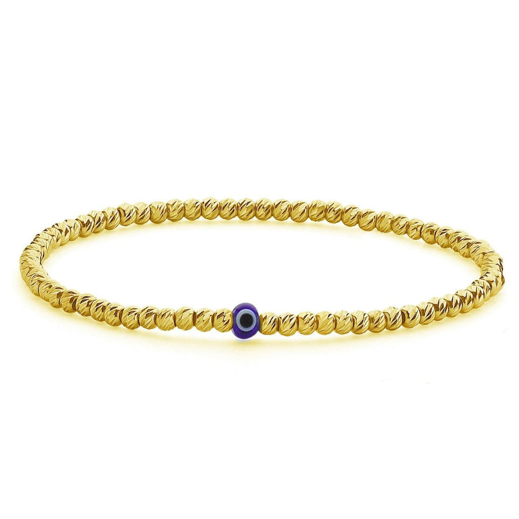 Bead Bracelet with Evil Eye - Yellow Gold and Navy - Golden Tangerine