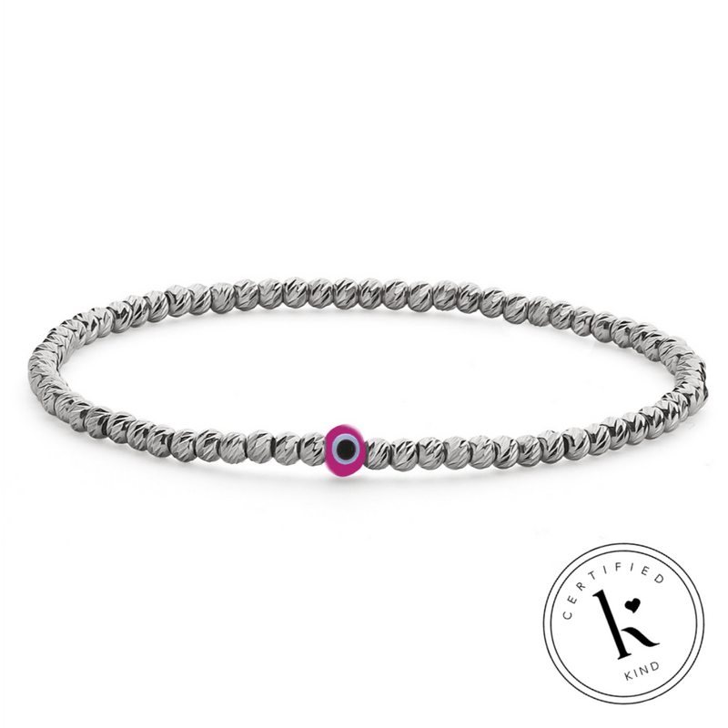 Bead Bracelet with Evil Eye - Silver and Pink