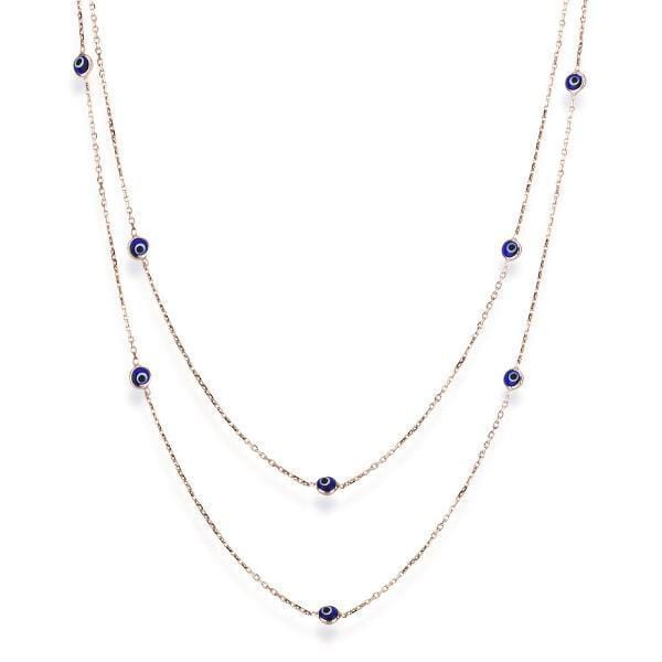Long Necklace with Evil Eyes - Rose Gold and Navy