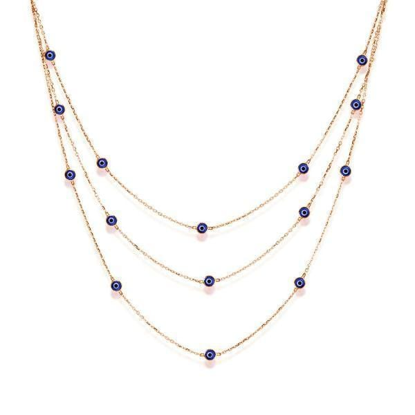 Triple Strand Necklace with Evil Eyes - Rose Gold and Navy
