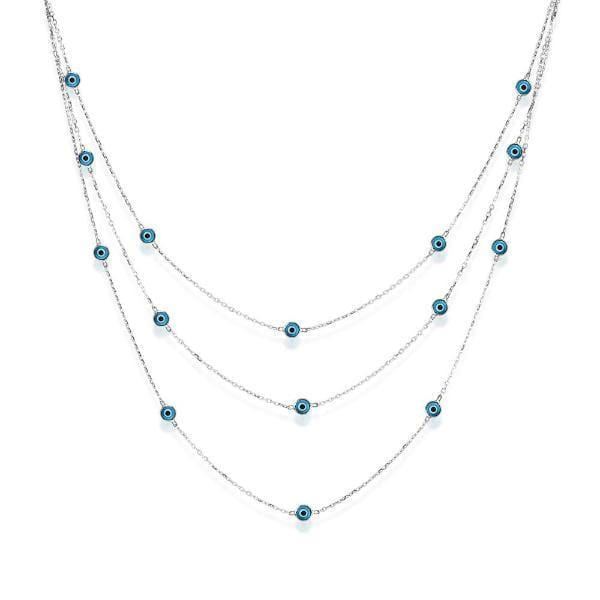 Triple Strand Necklace with Evil Eyes - Silver & Turquoise