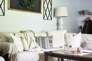 DIY No Sew Farmhouse Style Slipcovers