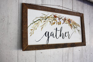 "Fall Farmhouse Sign ""Gather"""