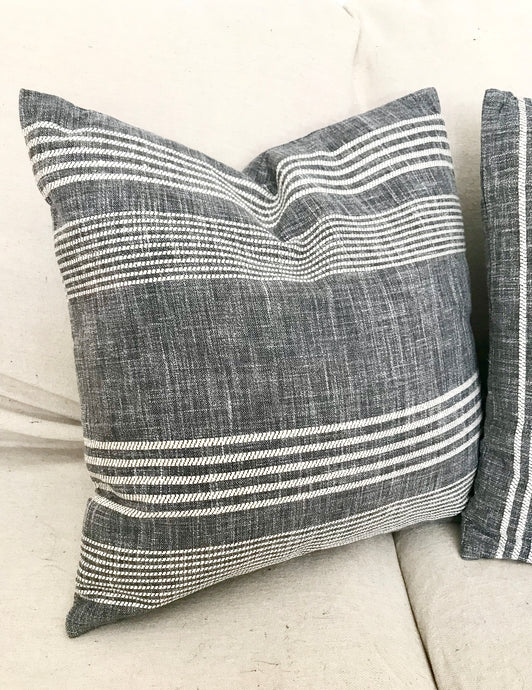 Grey Striped Pillow 16