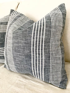 Grey Striped Pillow 16""