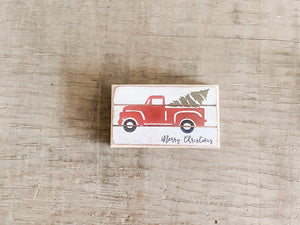 Christmas Truck Block Sign- Small