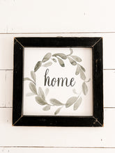 """Home"" Watercolor Wreath Sign"