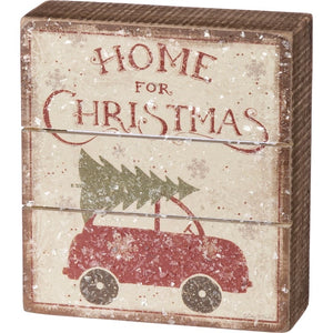 Home For Christmas Box Sign
