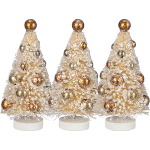 Cream Bottle Brush Tree (Set of 3)
