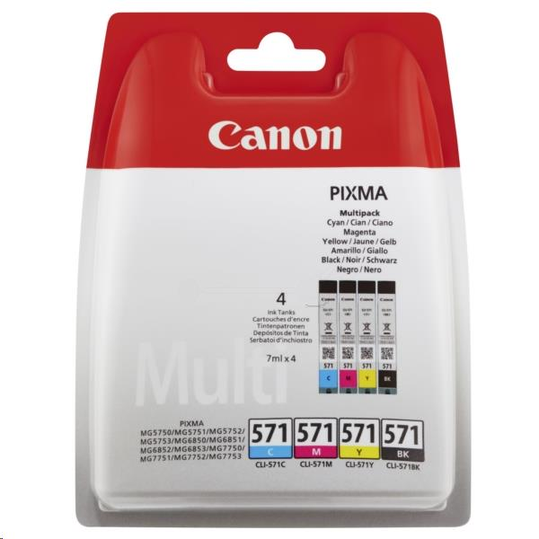 Canon CLI-571 Inkjet Cartridges Page Life 1330pp C/M/Y/K Ref 0386C005 [Pack 4]