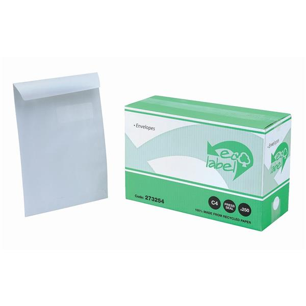 5 Star Eco Envelopes Recycled Pocket Self Seal Window 90gsm White C4 [Pack 250]