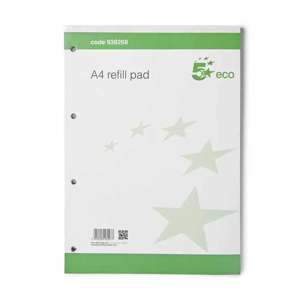 5 Star Eco Refill Pad Punched 4 Holes Ruled A4 [Pack 10]