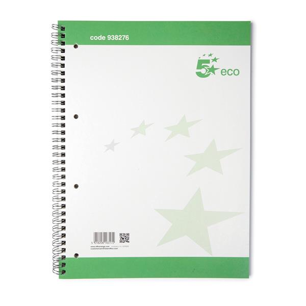 5 Star Eco Spiral Pad Punched 4 Holes Ruled A4 [Pack 10]