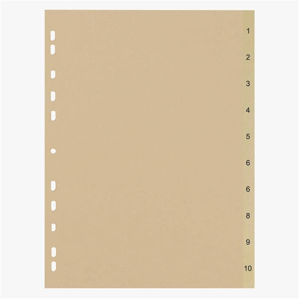 5 Star Eco File Divider Numbered Tabs 1-10 Recycled Manilla 11 Holes 150gsm A4 Buff