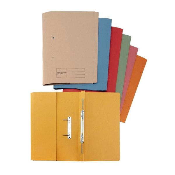 5 Star Elite Transfer Spring Pocket File Heavyweight 315gsm Capacity 38mm Foolscap Yellow [Pack 25]