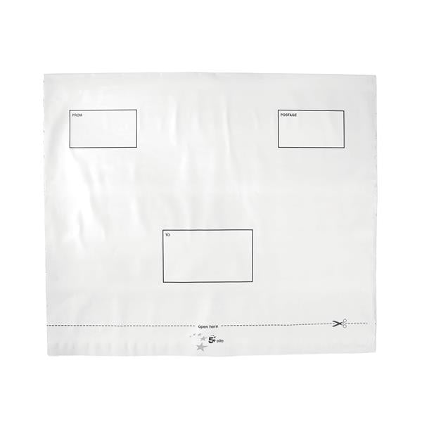 5 Star Elite Envelopes Extra Strong Waterproof Polythene Peel & Seal Opaque 440x330mm [Pack 100]