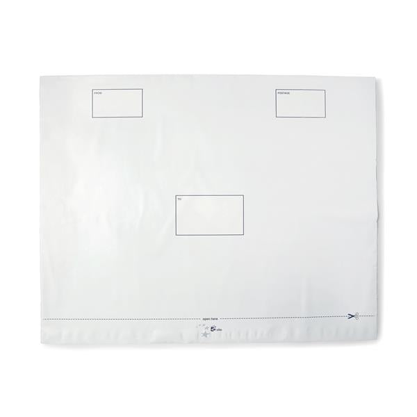 5 Star Elite Envelopes Extra Strong Waterproof Polythene Peel & Seal Opaque 600x430mm [Pack 100]