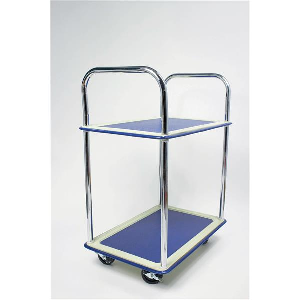 5 Star Facilities Trolley Steel Frame Non Marking Wheels Capacity 120kg 2 Shelf Chrome