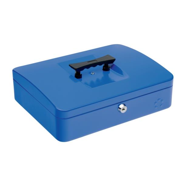 5 Star Facilities Cash Box with 5-compartment Tray Steel Spring Lock 12 Inch W300xD240xH70mm Blue