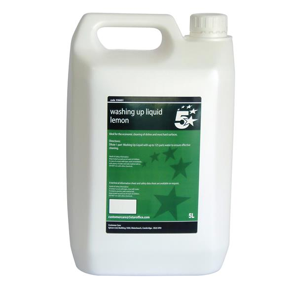 5 Star Facilities Lemon Washing-up Liquid 5 Litre Bulk Bottle
