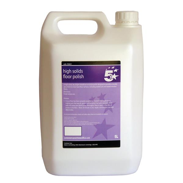 5 Star Facilities High Solids Floor Polish 5 Litre Bulk Bottle