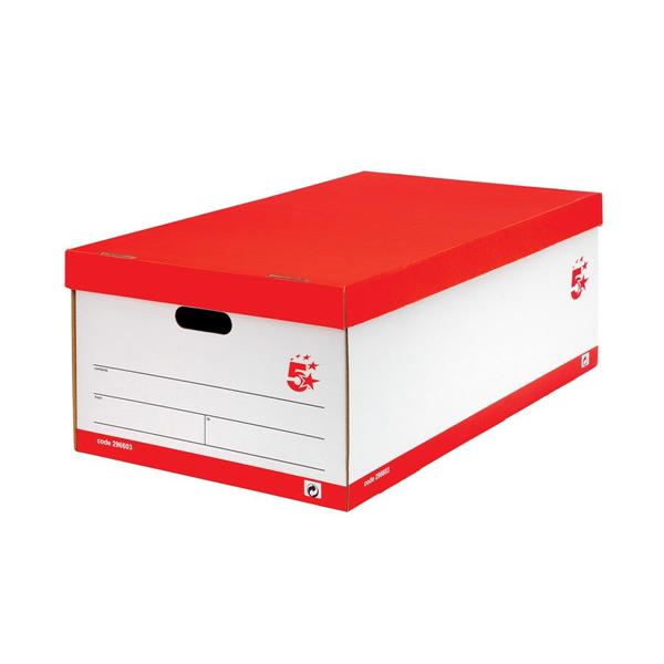 5 Star Office Jumbo Storage Box W412 x D715 x H276mm Red & White [Pack 5]