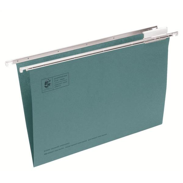 5 Star Office Suspension File Manilla with Tabs and Inserts Foolscap Green [Pack 50]