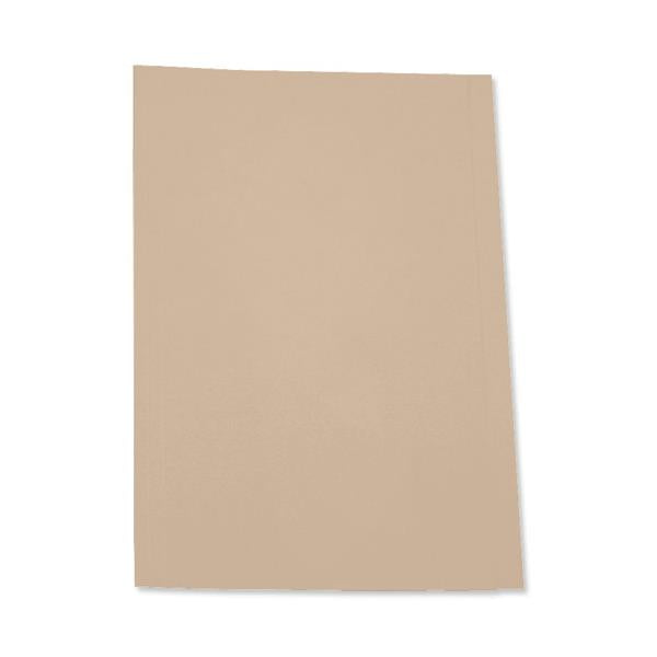 5 Star Office Square Cut Folder Recycled Pre-punched 250gsm Foolscap Buff [Pack 100]