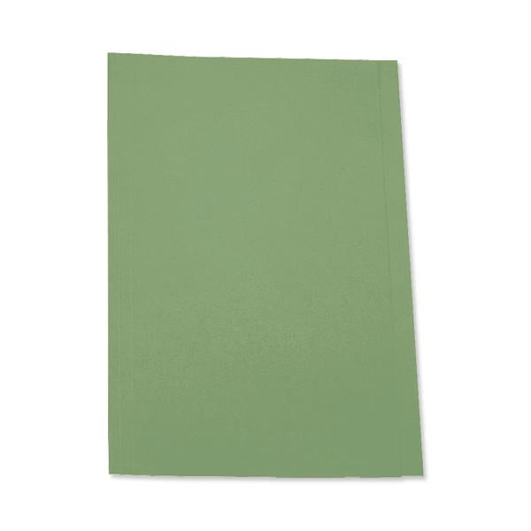 5 Star Office Square Cut Folder Recycled Pre-punched 250gsm Foolscap Green [Pack 100]