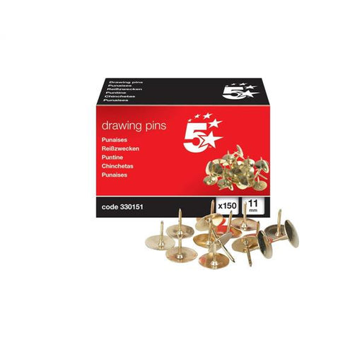 5 Star Office Brassed Drawing Pins of 11mm Head Diameter [Pack 150]