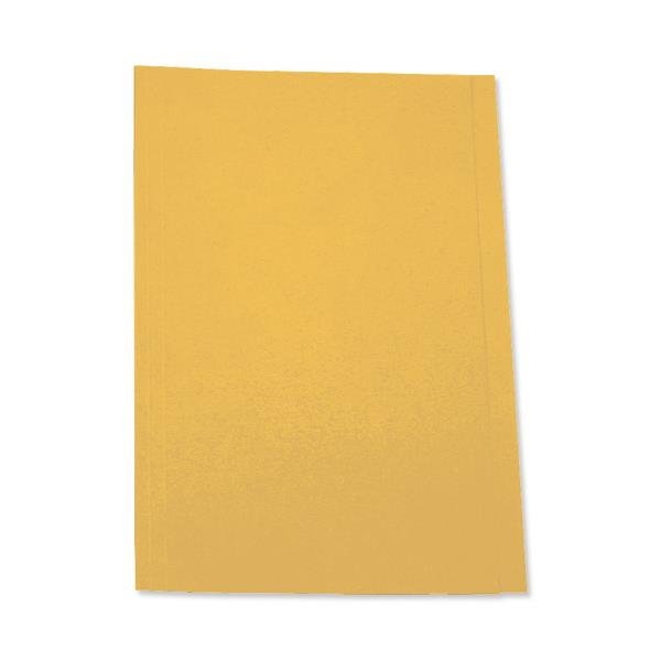 5 Star Office Square Cut Folder Recycled Pre-punched 180gsm Foolscap Yellow [Pack 100]