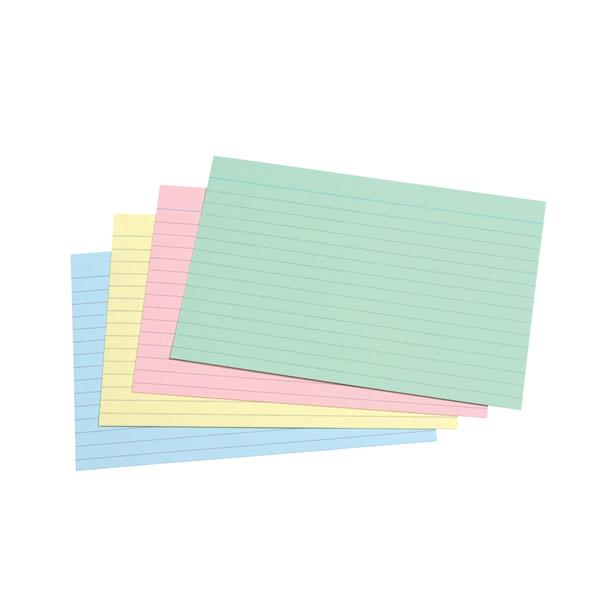 5 Star Office Record Cards Ruled Both Sides 6x4in 152x102mm Assorted [Pack 100]